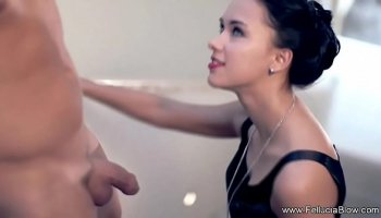 Cute japanese schoolgirl handjob all alone in the room