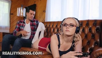 Smoking hot blonde blows guy tool like a pro