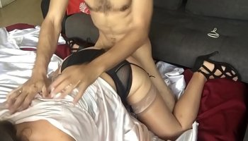 Red-haired bitch gets fucked at massage